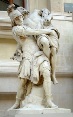 Trojan hero Aeneas carrying his father, Anchises from burning Troy